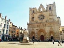 Baptiste de Jean de saint de cathédrale, vieille ville de Lyon, France Photos libres de droits