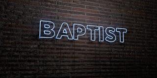 BAPTISTE - enseigne au néon réaliste sur le fond de mur de briques - image courante gratuite de redevance rendue par 3D illustration stock