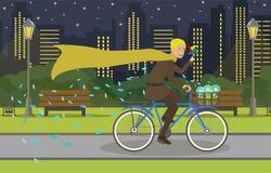 Baptiste sur même le tour de vélo dans la ville moderne illustration de vecteur