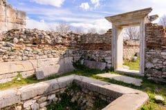 Baptisterio de la basílica B de Philippi Foto de archivo libre de regalías