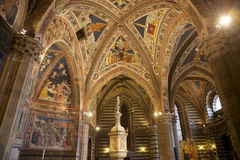 Baptistery av San Giovanni, Siena, Tuscany, Italien Arkivfoto