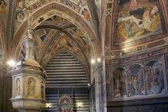 Baptistery av San Giovanni, Siena, Tuscany, Italien Royaltyfri Foto