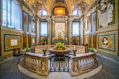 Baptistery in the Basilica of Santa Maria Maggiore in Rome, Italy. stock photos