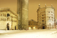 Baptistery and Cathedral at night with snow Stock Photography