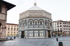 Baptistery Del Bigallo w ranku i Loggia Zdjęcia Royalty Free