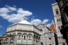 Baptistery and Dome. Famous Baptistery and Dome of Florence Royalty Free Stock Images