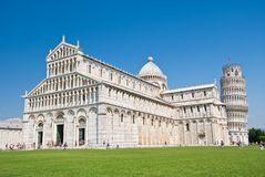 Baptistery, and leaning tower of pisa Royalty Free Stock Images