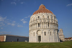 Baptistery and the Leaning tower of Pisa Royalty Free Stock Photo