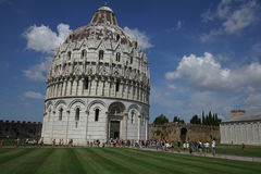 Baptistery in the `Miracle Place` in Pisa, Tuscany - Italy Stock Images