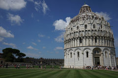 Baptistery in the `Miracle Place` in Pisa, Tuscany - Italy Royalty Free Stock Images