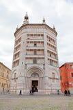 Baptistery på Piazza del Duomo, Parma Royaltyfri Fotografi