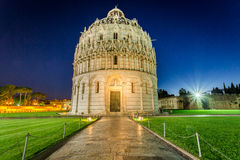 Baptistery in Pisa at night Royalty Free Stock Photos