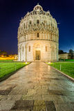 Baptistery in Pisa at night Stock Image