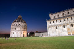 Baptistery in Pisa, night view of Miracles Square Royalty Free Stock Image