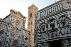 Baptistery of San Giovanni and the Basilica di Santa Maria del Fiore with Giotto campanile tower bell and Brunelleschi dome Stock Photography