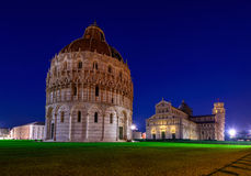 Baptistery of St. John Battistero di San Giovanni di Pisa, Pisa Cathedral Duomo di Pisa with Leaning Tower of Pisa Torre di P. Isa on Piazza dei Miracoli in Pisa Stock Photo