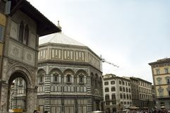 Baptistery of St John or di San Giovanni, Florence. The Florence octagonal Baptistery of St John is one of the city's oldest buildings, built in Romanesque style stock photography