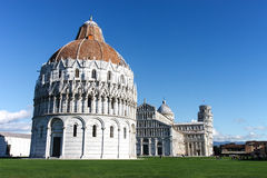 Baptistry, Cathedral and Leaning Tower of Pisa, Pisa, Italy. View of the Baptistry, Cathedral and Leaning Tower of Pisa, Pisa, Italy Royalty Free Stock Image