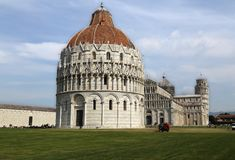 Baptistry and cathedral of Pisa, Italy Royalty Free Stock Images