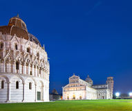 Baptistry, the Duomo and Leaning Tower of Pisa at night Royalty Free Stock Photography