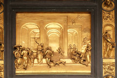 Isaac with Esau and Jacob, Gates of Paradise, Baptistery of Florence Cathedral. Baptistry of Saint John, Gates of Paradise, Isaac with Esau and Jacob, Florence Royalty Free Stock Photos