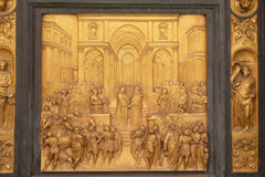 Queen of Sheba and King Solomon, Gates of Paradise, Baptistry of Florence Cathedral. Baptistry of Saint John, Gates of Paradise, Queen of Sheba and King Solomon Stock Image