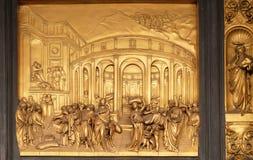 The Story of Joseph, Gates of Paradise, Baptistry of Florence Cathedral. Baptistry of Saint John, Gates of Paradise, The Story of Joseph, Florence, Italy Royalty Free Stock Photos