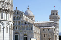 Baptistry of St. John, Cathedral and Leaning tower, Pisa, Italy Stock Images