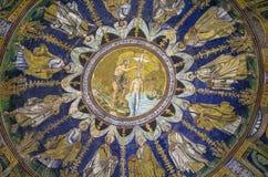 baptistryitaly neon ravenna Royaltyfri Bild