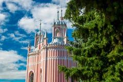 baptystycznego chesme kościelny John pałac święty Kościół St John Baptystyczny Chesme pałac w świętym Petersburg, Rosja Obrazy Royalty Free