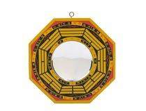 Baqua di legno dello specchio di shui di Feng isolato Fotografia Stock Libera da Diritti