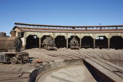 Baquedano Engine Shed, Chile. Old steam locomotives at the historic engine shed at Baquedano Railway Station in the Atacama Desert, Chile stock images