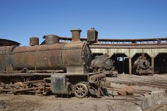 Baquedano Engine Shed, Chile. Old steam locomotives at the historic engine shed at Baquedano Railway Station in the Atacama Desert, Chile royalty free stock photo