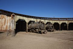 Baquedano Engine Shed, Chile. Old steam locomotives at the historic engine shed at Baquedano Railway Station in the Atacama Desert, Chile stock photo