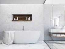Baquet blanc dans une salle de bains de mur en béton illustration de vecteur