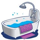 Baquet et douche de Bath Image stock
