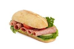 Baquette van de salami stock foto's