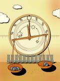 Barómetro para el negocio - claro, cubierto, huracán Escalas de la farmacia con las monedas del dólar en tazas Sillas Tiempo de l ilustración del vector