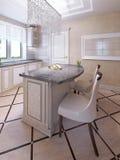 Barów krzesła art deco kuchenną wyspą Obraz Stock