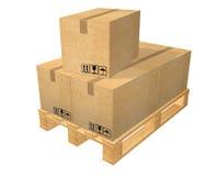 Barłóg z pięć pudełkami Zdjęcie Stock