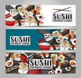 Bar à sushis et ensemble horizontal de bannière de restaurant asiatique Calibre japonais de conception de publicité de nourriture Image libre de droits