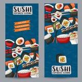 Bar à sushis et ensemble vertical de bannière de restaurant asiatique Calibre japonais de conception de publicité de nourriture Photo libre de droits