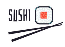 Bar à sushis ou calibre de logo de restaurant illustration de vecteur