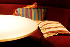 A bar. Ellipse table around by square chair in a bar royalty free stock photo