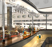 Bar. 3dmax.The project of an interior of cafe stock illustration