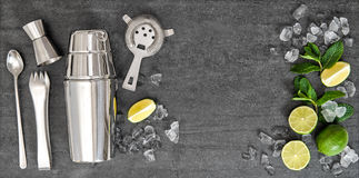 Bar accessories ingredients for alcohol cocktail drink Royalty Free Stock Image