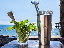 Bar accessories with inox shaker Stock Photos