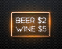 Bar Advertising Retro Glowing Neon Frame Template Stock Photography