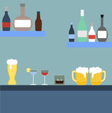 Bar with alcoholic beverages. In flat style Royalty Free Stock Image