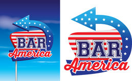 Bar american style signage in vintage roadsie styl. 1950s style of advertising  on a white background,  available Royalty Free Stock Photography